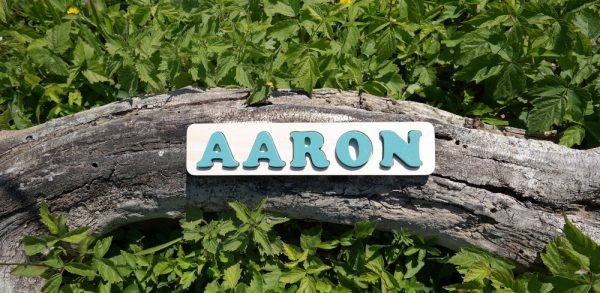 Puzzle prénom Aaron, vert Martin Pêcheur