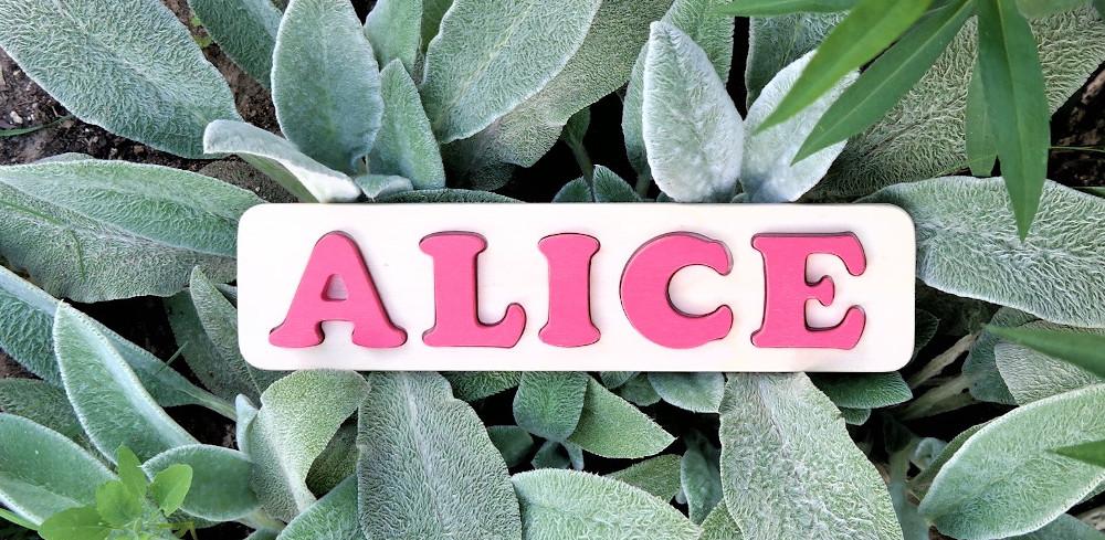Puzzle prénom Alice, rose Tagada
