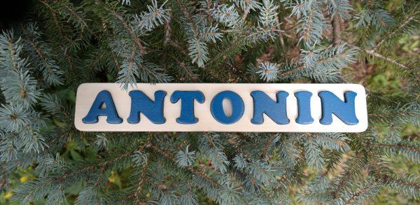 Puzzle prénom Antonin, bleu Agrion