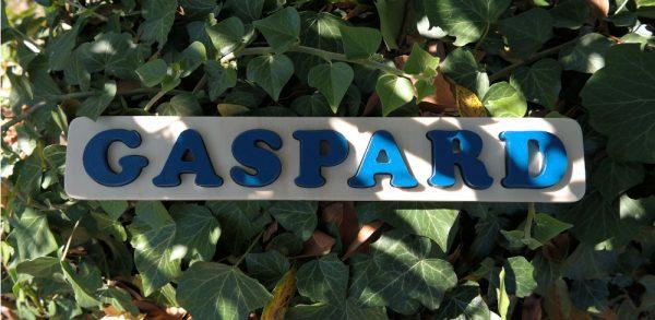 Puzzle prénom Gaspard, bleu Agrion