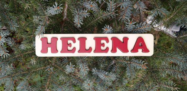 Puzzle prénom Helena, rouge Grenat