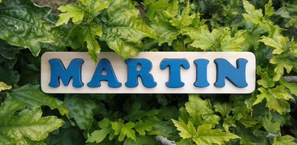 Puzzle prénom Martin, bleu Agrion