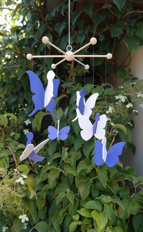 mobile papillon bleu Jodhpur et blanc