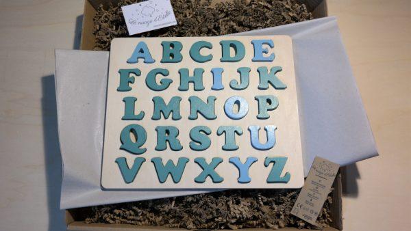 puzzle alphabet voyelles bleu Aztèque et consonnes vert Martin Pêcheur