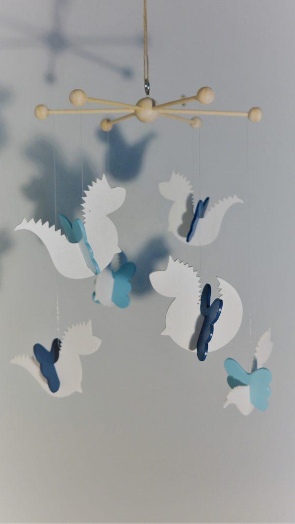 mobile dragons ailes bleu Aztèque et bleu Agrion, corps blanc
