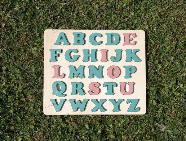 """Puzzle alphabet prénom """"LOUISE"""" vert Martin Pêcheur rose Ahoa"""
