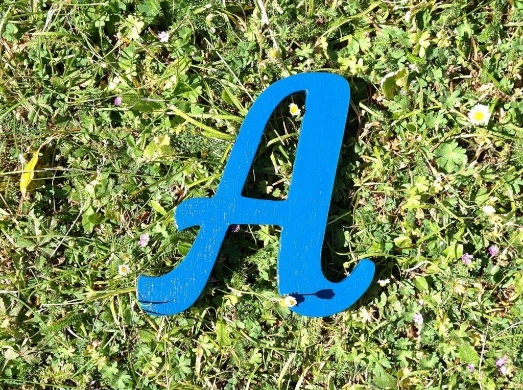 Lettre en bois, parfait pour décorer la porte de votre enfant (bleu Agrion)