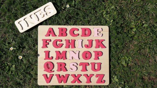 """Puzzle alphabet prénom """"Inès"""" rose Tagada et rose Mignardise (avec son plateau prénom en demande supplémentaire)"""