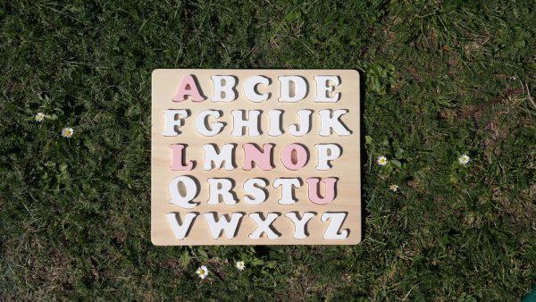 "Puzzle alphabet prénom ""Louna"" blanc et rose Mignardise"