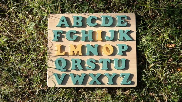 """Puzzle alphabet prénom """"MILO"""" vert Martin Pêcheur jaune Propolis"""