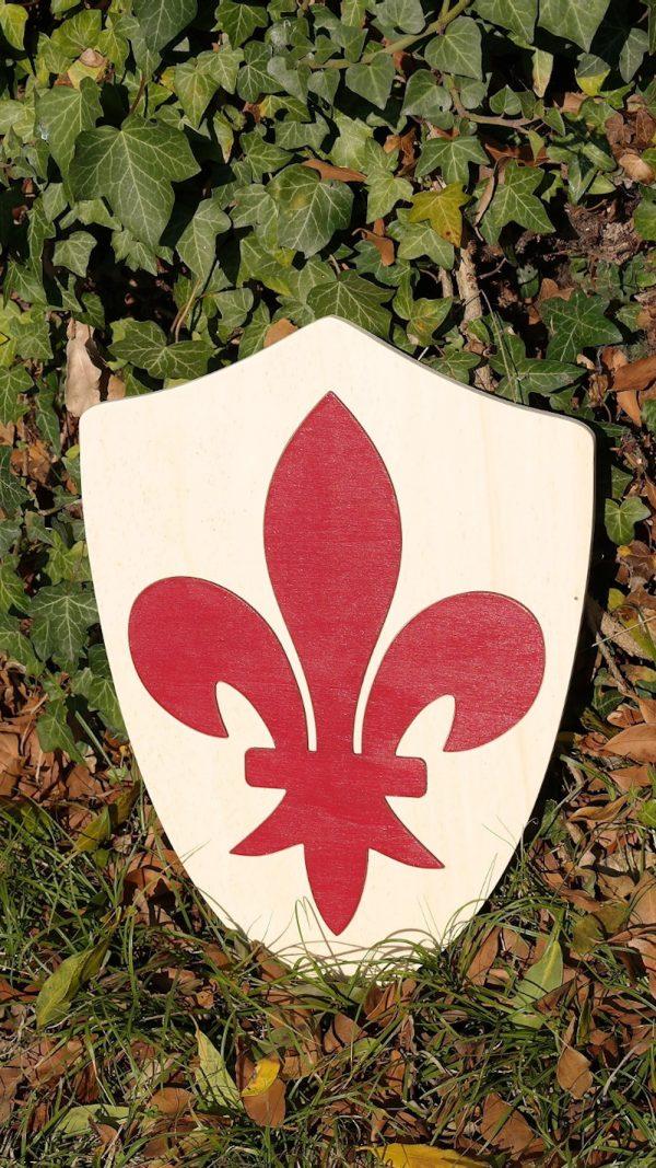 Bouclier Normand Fleur de Lys rouge Grenat