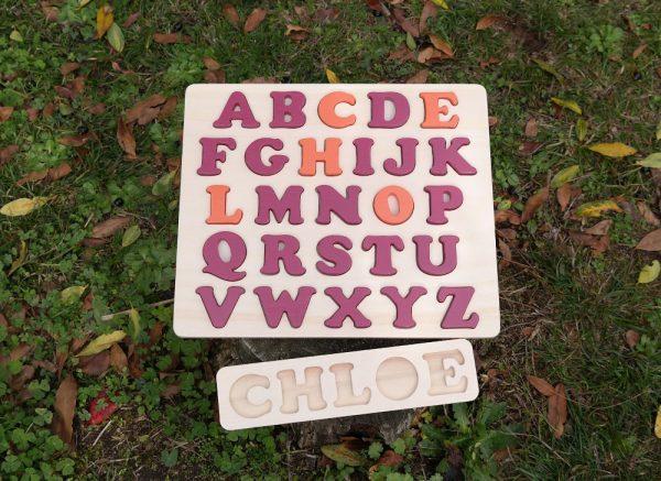 Plateau prénom Chloé et alphabet prénom rose Baroque et orange Cornaline
