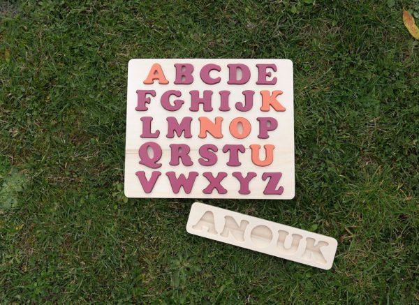 Plateau prénom Anouk et alphabet prénom rose Baroque et orange Cornaline