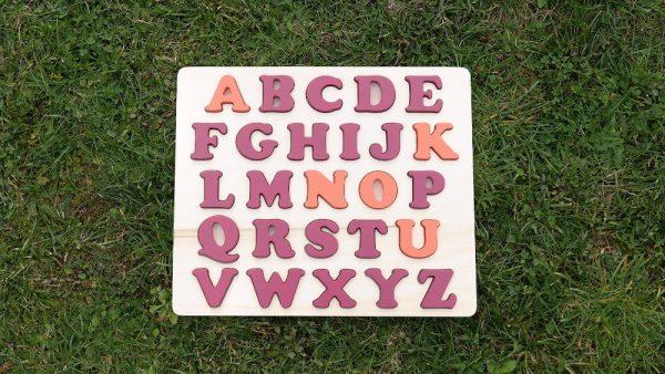 Puzzle alphabet prénom rose Baroque et orange Cornaline