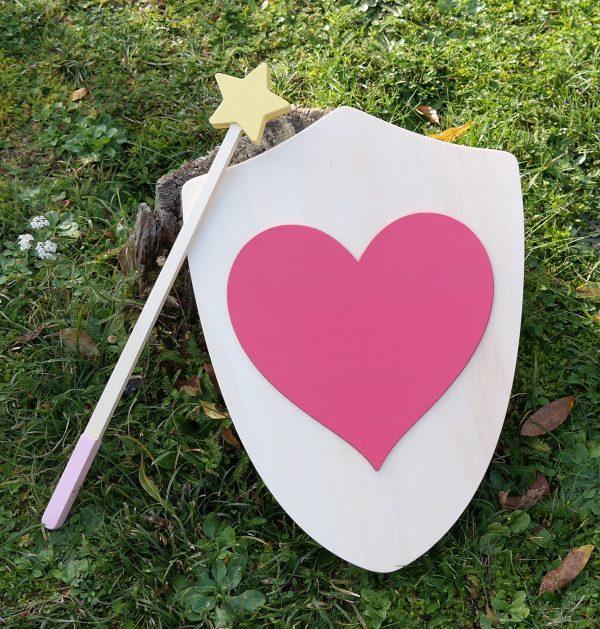 Bouclier Cœur et baguette magique