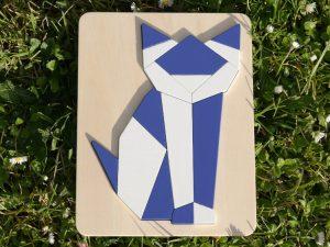 Puzzle chat origami en bois