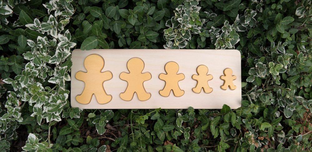 Puzzle 5 bonhommes en bois